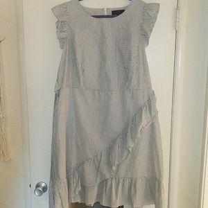 Eloquii Striped Ruffle Dress